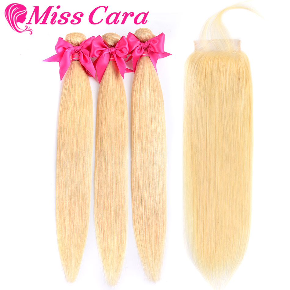 Miss Cara 613 Blonde Malaysian Straight Hair 3 Bundles With Closure Human Hair Bundles With Closure Remy 613# Hair Extensions image