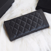 Women luxury caviar Wallet real leather top quality Classic designer brands Clutch feminine casual purse Long Wallet