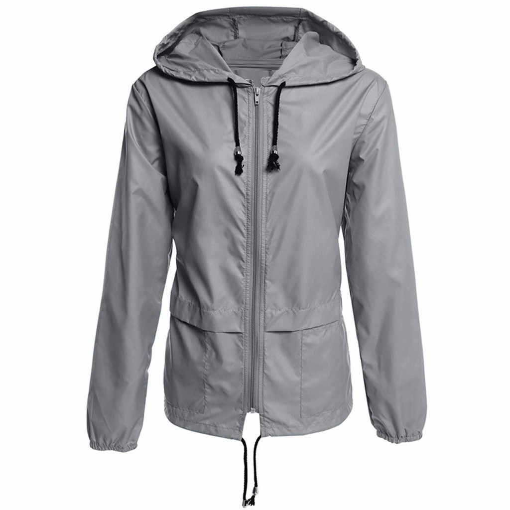 Black Windbreak Jacket Women Long Sleeve Hooded Coats Spring Autumn Casual Basic Jackets Plus Size for Women jaqueta feminina
