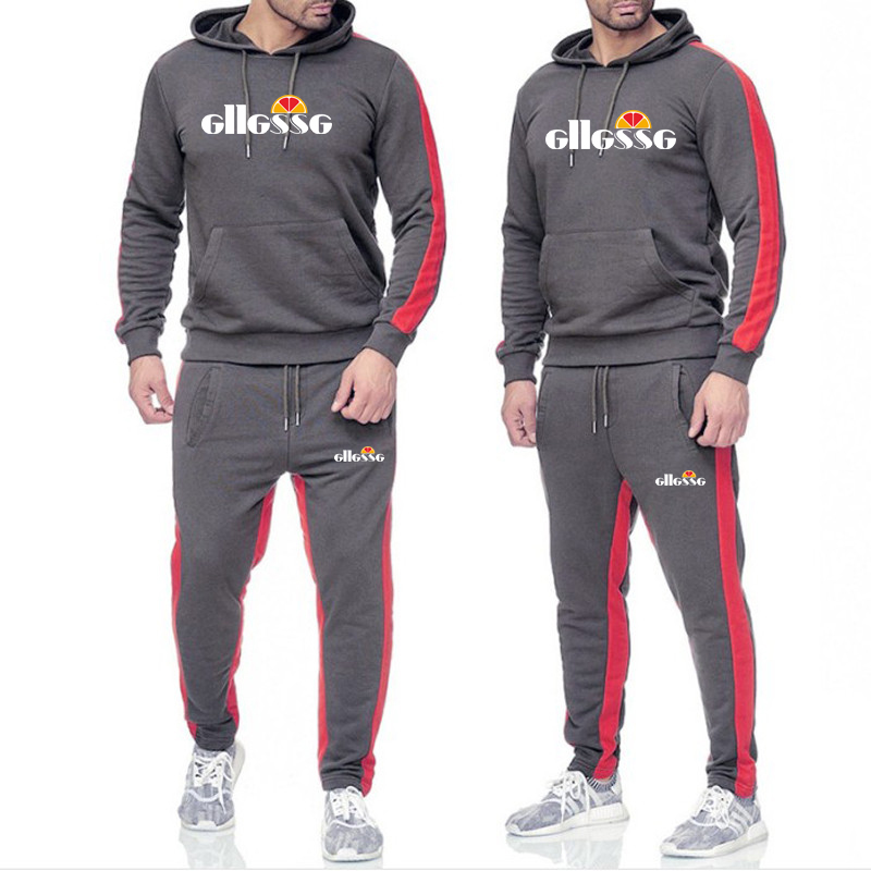 Brand Clothing Men's Fashion Tracksuit Casual Sportsuit Men Hoodies Sweatshirts Sportswear Letter Print Coat+Pant Men Set