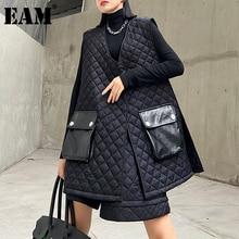 Argyle-Pattern Suit Pu-Shorts Loose Two-Piece Fashion Women New Fit Winter Black V-Neck
