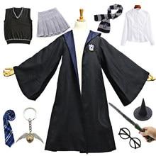 Cadılar bayramı kostüm yetişkin çocuklar Ravenclaw mavi pelerin elbise kazak gömlek okul üniforması Hermione Granger parti giysileri
