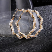 2019 New Pearl Hoop Earrings for Women Exaggerates Oversize Pearl Circle Ear Rings Earrings Fashion Europe Nightclub Jewelry(China)