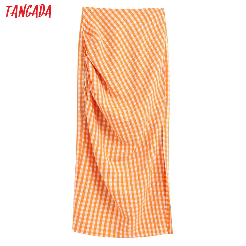 Tangada Women Plaid Orange Midi Skirt Faldas Mujer Vintage Side Zipper Ladies Elegant Chic Mid Calf Skirts BE240