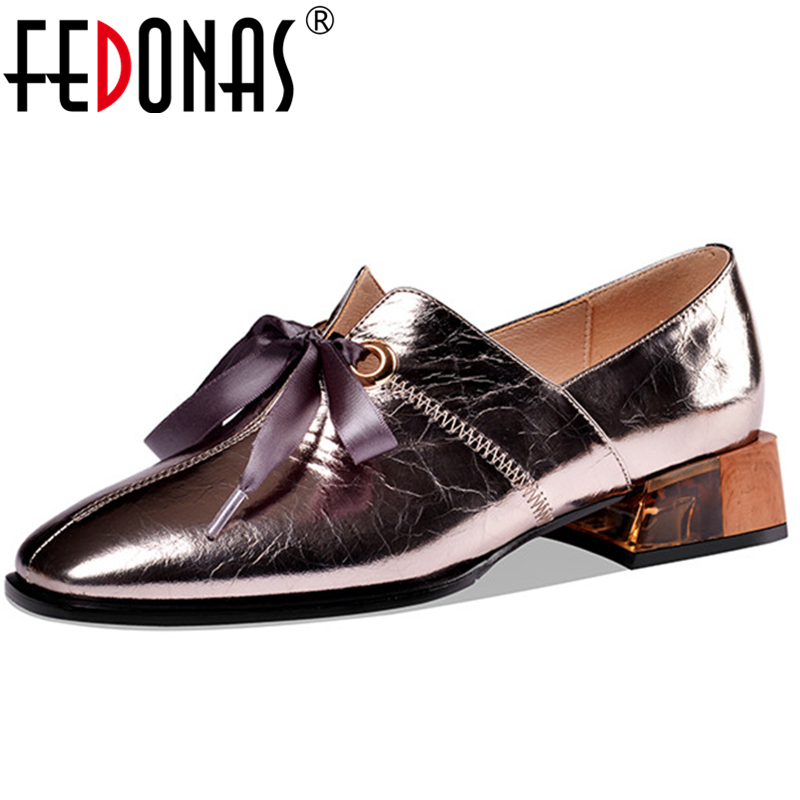 FEDONAS 2020 Spring New Women Cow Patent Leather Shoes Loafers Shoes New Euro Style Retro Casual Thick Heel Lace-Up Shoes Woman