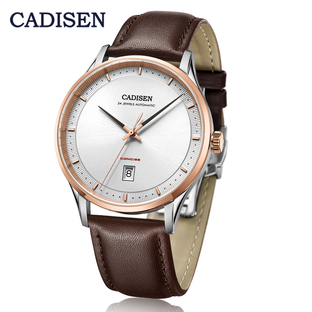 CADISEN 2019 Luxury Top Men's Automatic Watch Leather Mechanical Watch Business Casual Fashion 5ATM Waterproof Calendar Manly