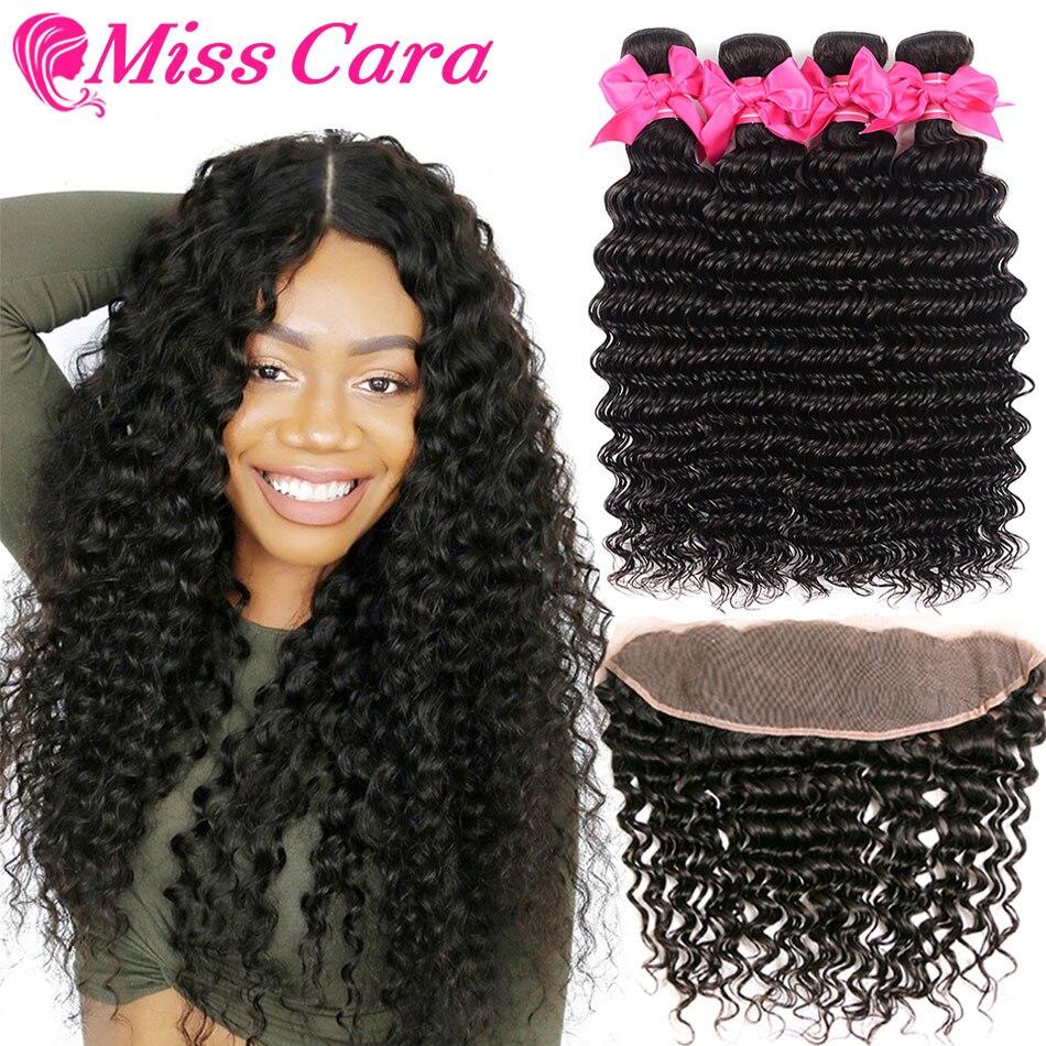 Malaysian Deep Wave Bundles With Frontal 100 Human Hair 3 4 Bundles With Frontal Miss Cara