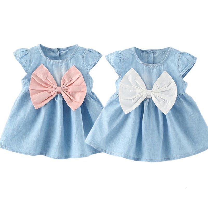 H9c0ae593d1364a17a2e15b37bc725fc8E Girls Dress 2018 Summer Explosion Solid Color Denim Dress Cartoon Polka Dot Bow Cartoon Bunny Satchel Korean Baby Cute Dress