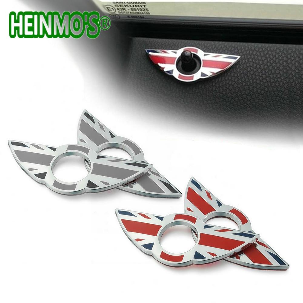 Union Jack Door Lock Pin Emblem Wings Sticker Decoration For MINI Cooper S R53 R55 R56 R57 R58 R59 F55 F54 Auto Car Accessories
