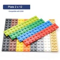 Bloco de construção tijolo peças modelo brinquedos acessório fino 2x12 diy iluminar criativo crianças brinquedo compatível com legoes 2445 20 peças|Blocos| |  -