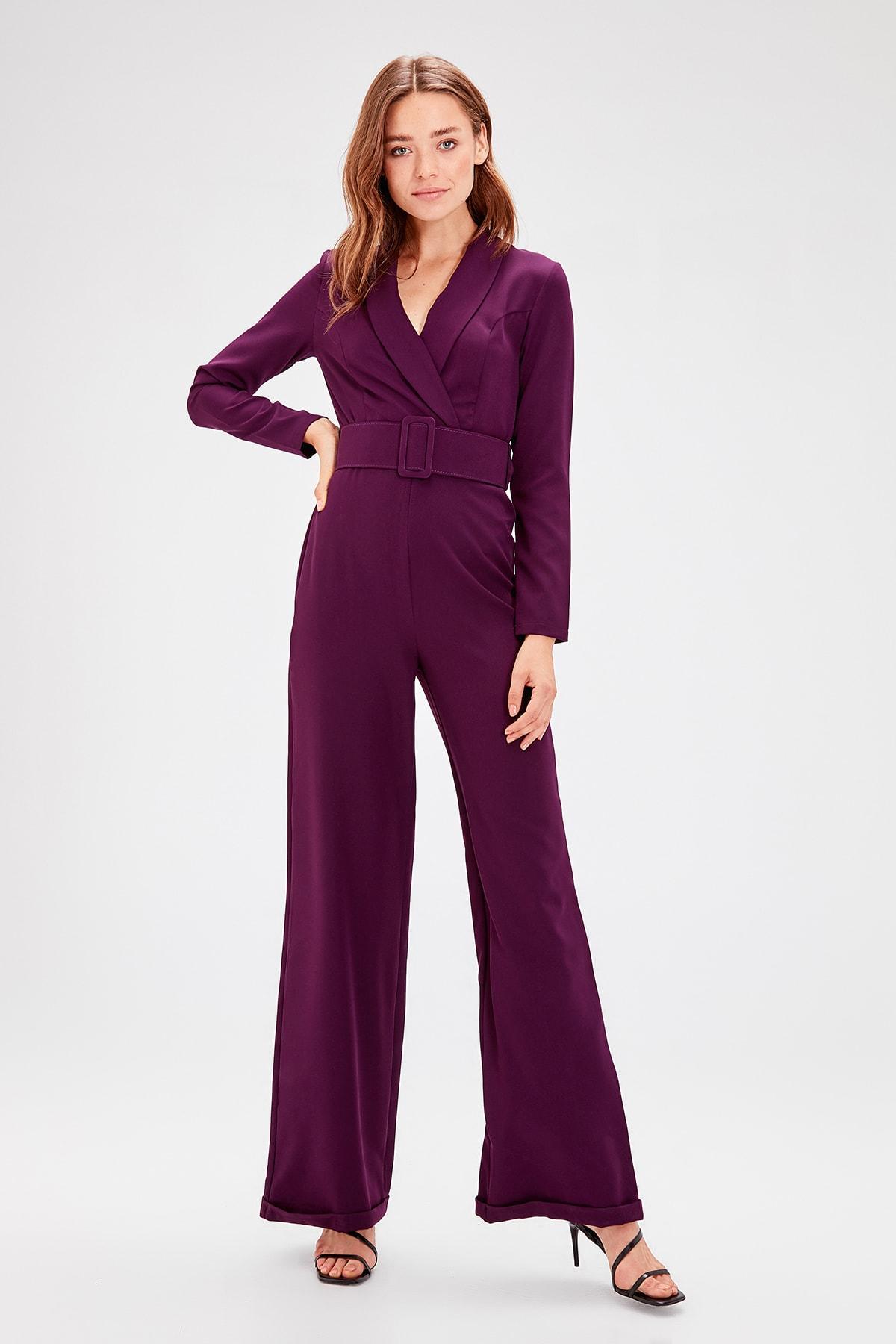 Trendyol Arched Purple Jumpsuit TWOAW20TU0018