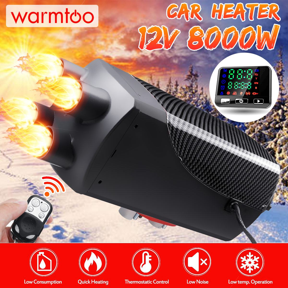 Car Heater 5KW 12V Four Hole Air Diesel Heater Parking Heater + Remote Control LCD Monitor for RV Motorhome Trailer Trucks Boats