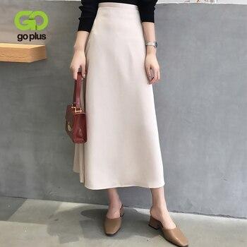 GOPLUS Spring Black Skirt Korean Style Vintage Solid Hight Waist A-line Mid-calf Long Skirts Women Cloth Ropa Mujer Jupe Femme