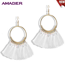 New 2019 Fashion Bohemian Ethnic Fringed Tassel Earrings for Women Golden Round Circle Dangle Hanging Drop Jewelry