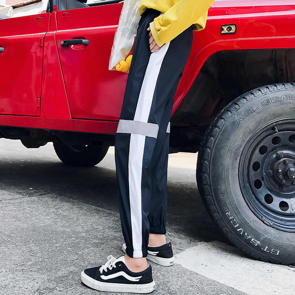 Pantalones estilo BF mujeres Otoño Invierno Splice Plus cachemir caliente Pantalones deportivos moda nueve longitud Harajuku Hip Hop Streetwear 2XL