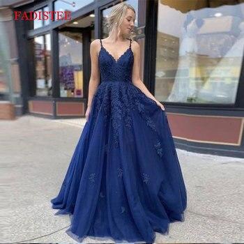 Lace navy blue V-neck vestidos de fiesta de noche prom party Evening Dresses robe de soiree gown frock long soft tulle lace-up