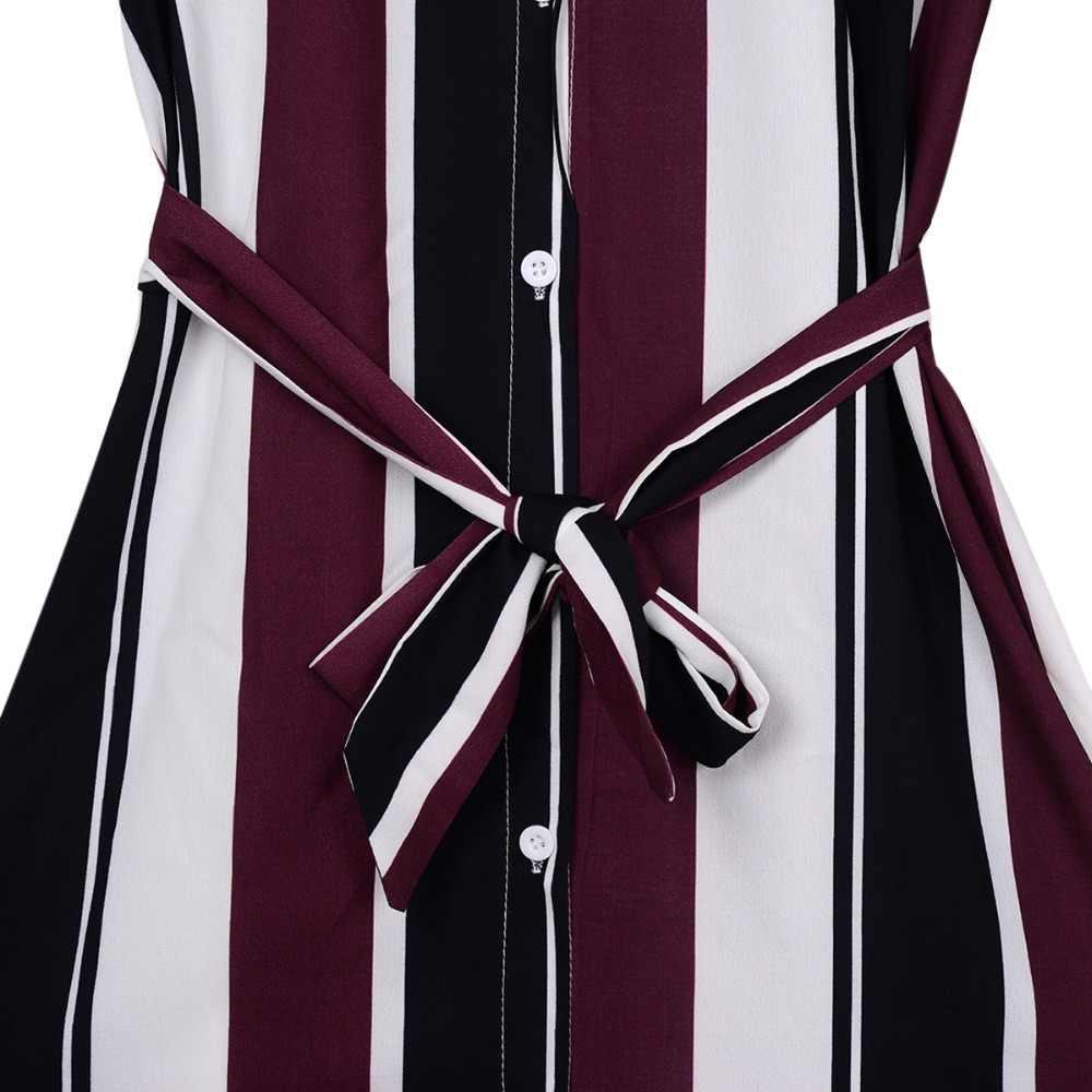 2019 オフィスの女性のターンダウン襟ボタンレースアップロングシャツドレスの女性の秋春長袖ストライプマキシドレス