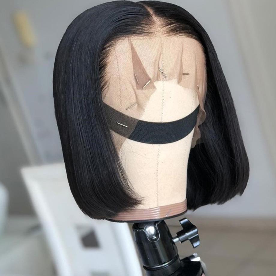 Short <font><b>Lace</b></font> <font><b>Front</b></font> <font><b>Human</b></font> <font><b>Hair</b></font> <font><b>Wigs</b></font> Bob <font><b>Wig</b></font> For Black Women Brazilian Straight Frontal Bobs <font><b>Wig</b></font> 130 <font><b>180</b></font> 250 <font><b>Density</b></font> US FR ware 13x4 image