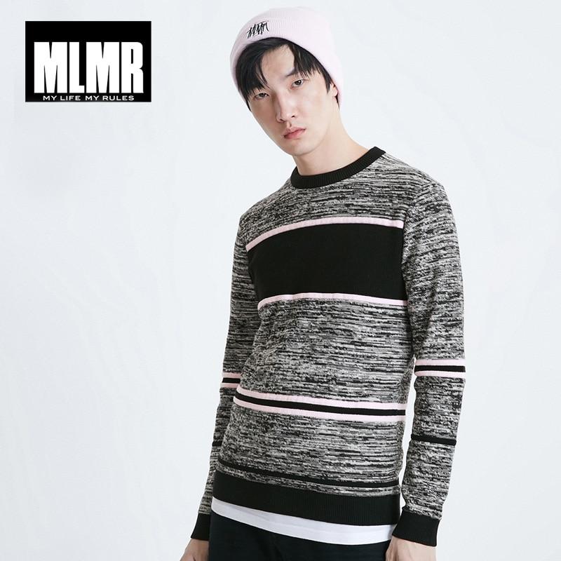 MLMR Mens Contrasting Spliced Stripe Round Neckline Pullover Knit| 219124506