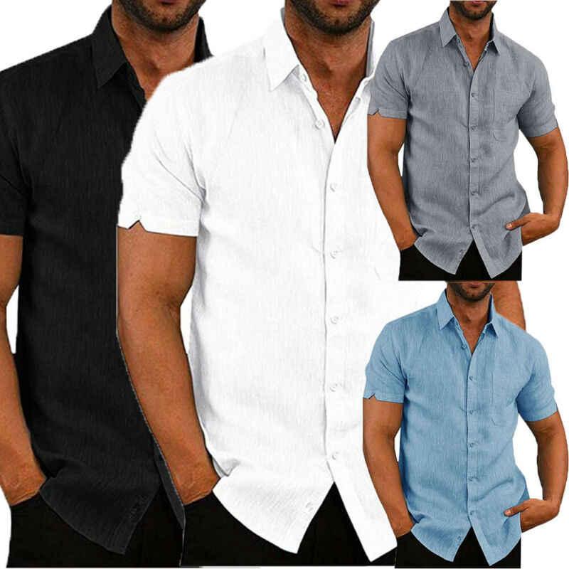 Luxe heren Korte Mouwen Turn-down Kraag Shirts Casual Losse Linnen Shirt Blouse Tops Borst Pocket Design Zwart wit Grijs Blauw