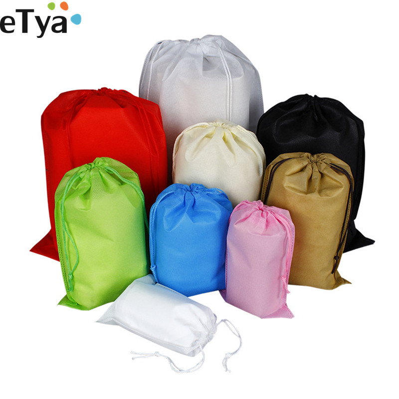 ETya Reusable Foldable Shopping Bag Eco Drawstring Folding Shopper Bag Travel Eco Cloth Shoes Grocery Storage Tote Pouch Case