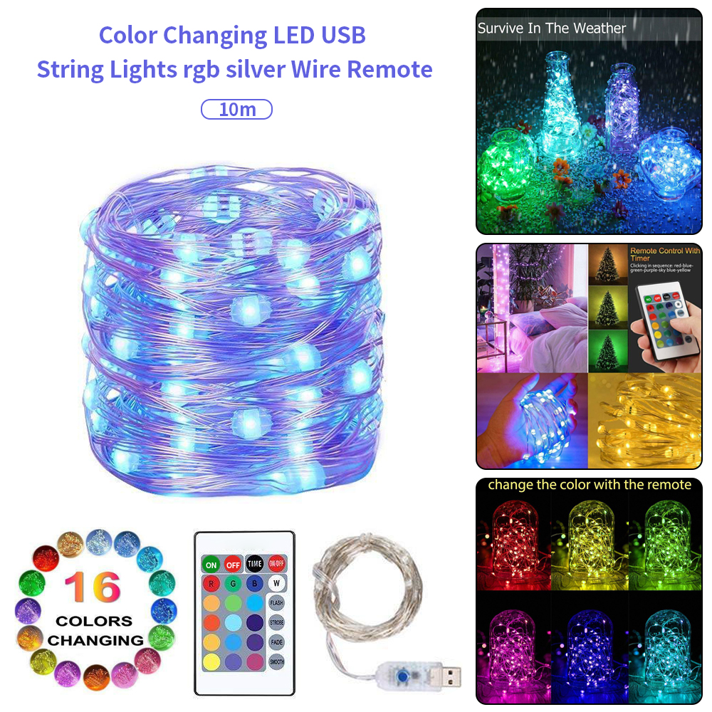 String Light USB 24 Button Remote Control Dimmable Powered 5M 10M LED Wire String Lights Decor Party Wedding Fairy Light Lamp