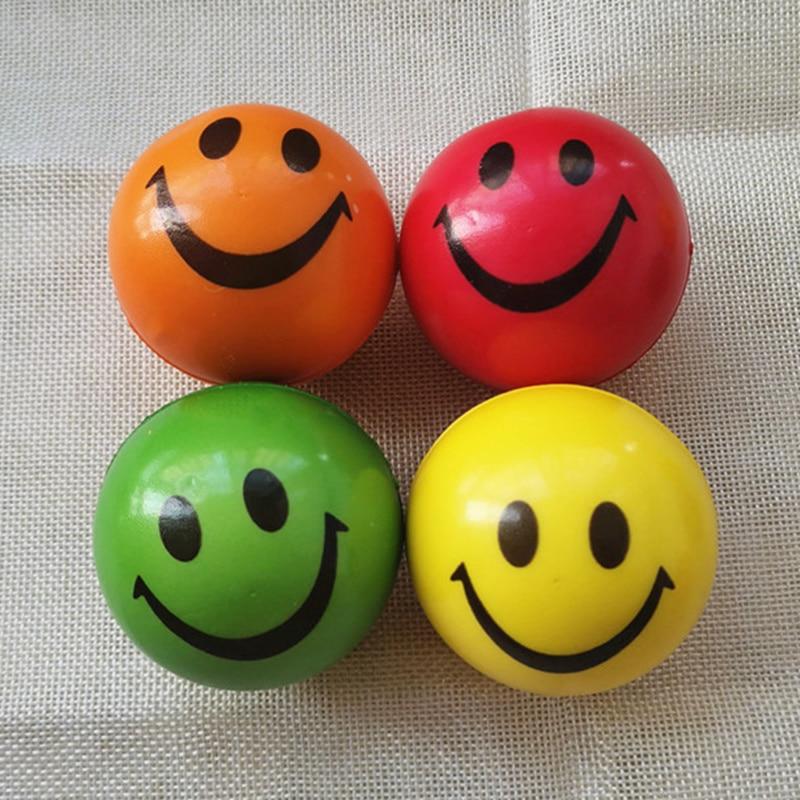 4pcs 6.3cm Soft PU Foam Stress Balls Colofull Funny Smiley Face Squeeze Anti Stress Balls Toys For Kids Children