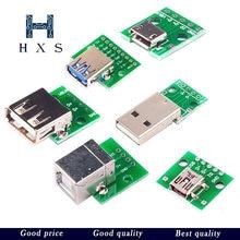 Micro mini usb usb um macho usb 2.0 3.0 uma fêmea usb b conector interface para 2.54mm dip pcb conversor adaptador placa de fuga