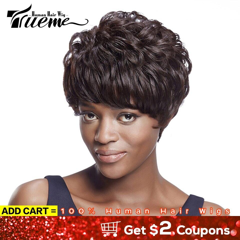 Trueme Short Human Hair Wigs 100% Remy Brazilian Hair Wigs For Black Women Ocean Wave Pixie Cut Short Full Wigs With Bangs