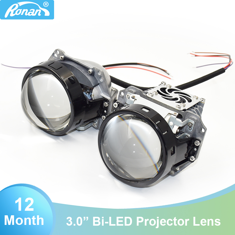 Ronan 2pcs 3.0 Bi Led Projector Lens 6000K 34W 38W 3200lm For HL 3r 5 Universal Car Headlight Retrofit Upgrade Installation Diy