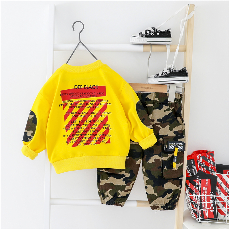 2020 Spring Baby Boys Clothing Sets Sports T Shirt Camouflage pants Toddler Infant Clothes Children Vacation Costume