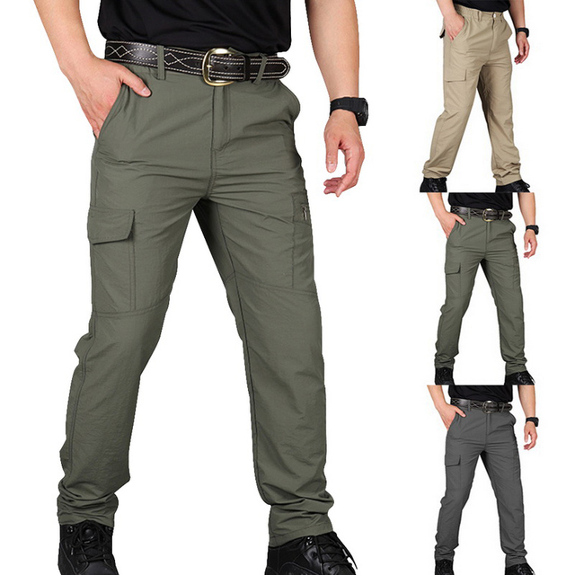SHUJIN Men Cargo Pant Men Multi-Pocket Overall Male Combat Trousers Casual Tooling Pants Army Green Cargo Pants Men Size S-4XL 1