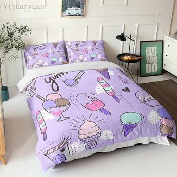 Fioletowy 3D Cartoon powłoczki deser lody zestaw narzut na łóżko pojedyncze królowa poszwa na kołdrę w rozmiarze King + 1 2 poszewki na poduszki pościel tanie i dobre opinie Brak Zestawy poszew na kołdry CN (pochodzenie) Poliester Bawełna 1 0 m (3 3 stóp) 1 2 m (4 stóp) 1 35 m (4 5 stóp)