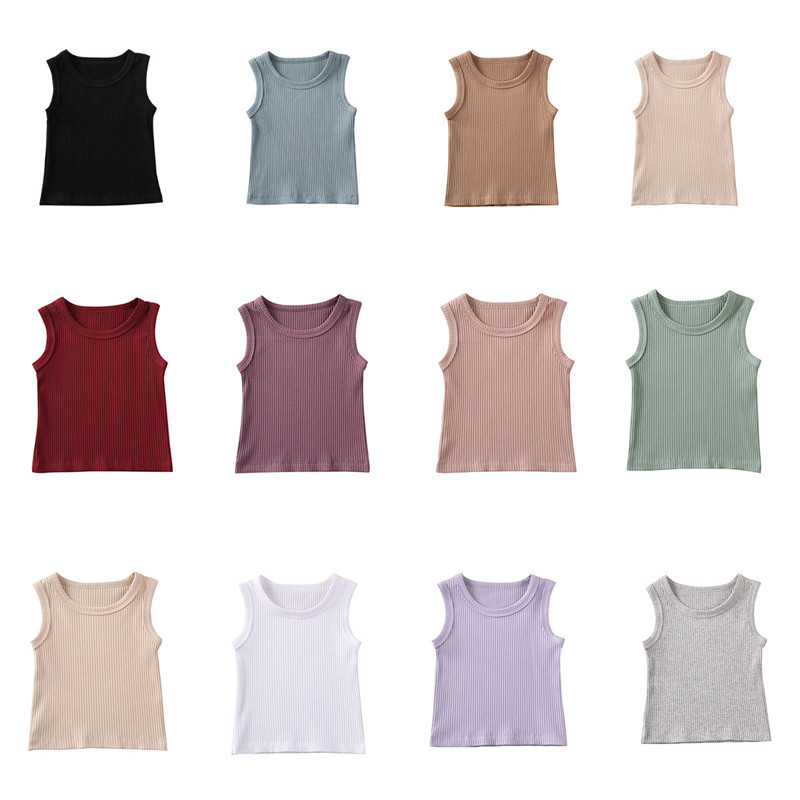 Summer Baby Boys Girls Sleeveless O-necked Ribbed Knitted T-shirt Bottoming Shirt Cotton Children's Casaul T-shirts Top