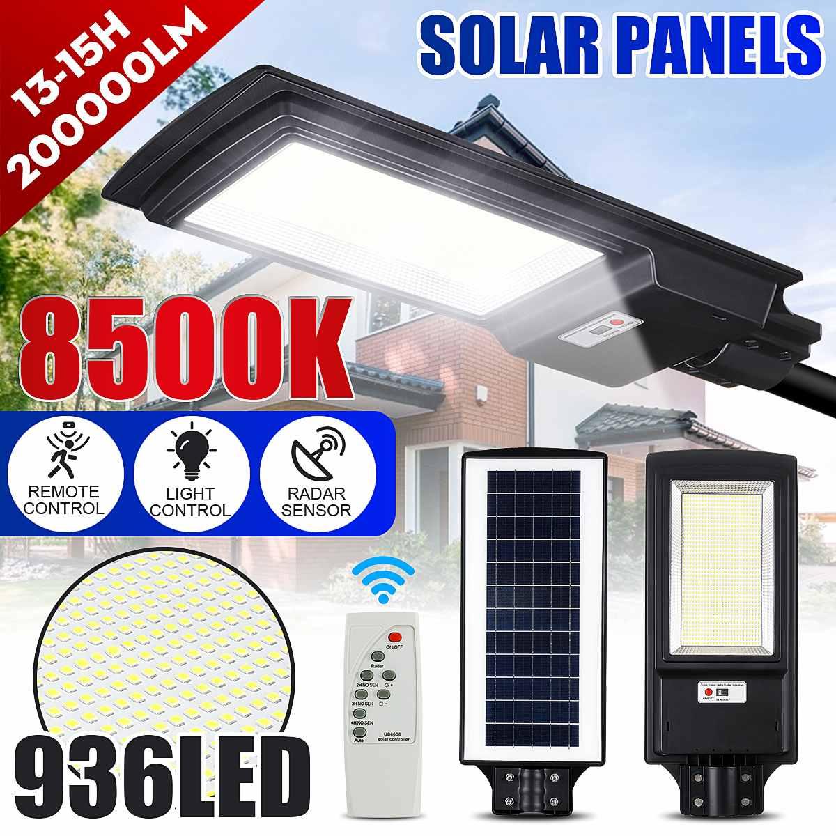 150W 300W LED Solar Straße Licht 2835smd Radar Sensor Super Helle 436led/936led Solar Lampe für Plaza und Pathway 5000-6000K