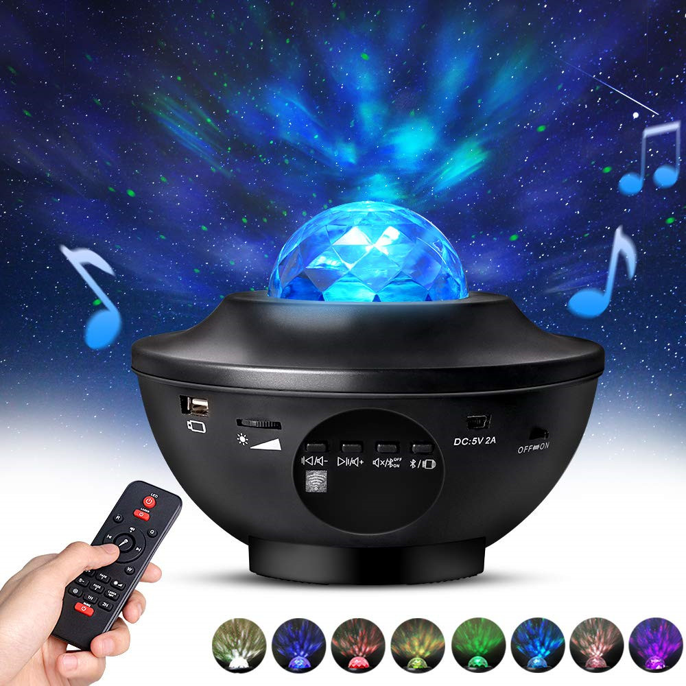 USB 2 In 1 Star Led Projector Light & Remote Control Bluetooth Speaker LED Moving Ocean Wave Decorative Lamp Kids Adults Room