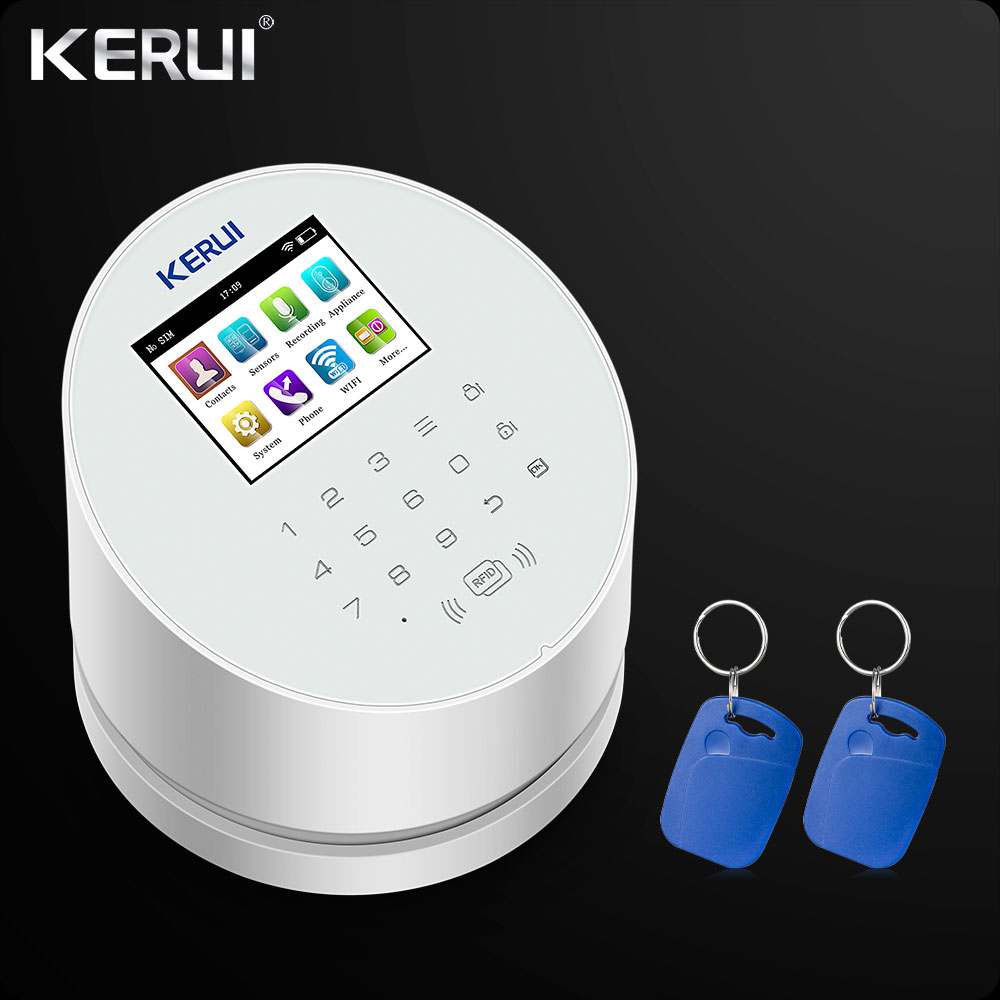 KERUI W2 WiFi GSM PSTN With RFID Home Alarm Security System  Wifi Alarm TFT Color LCD Display ISO Android App Control Rfid Card