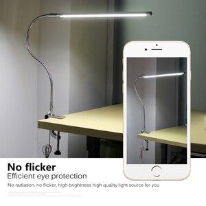 Image 3 - Lampe de Table à bras Long 48 LED s pince de bureau LED lampe de bureau USB Flexible col de cygne protection des yeux lampes de lecture pour étude de travail