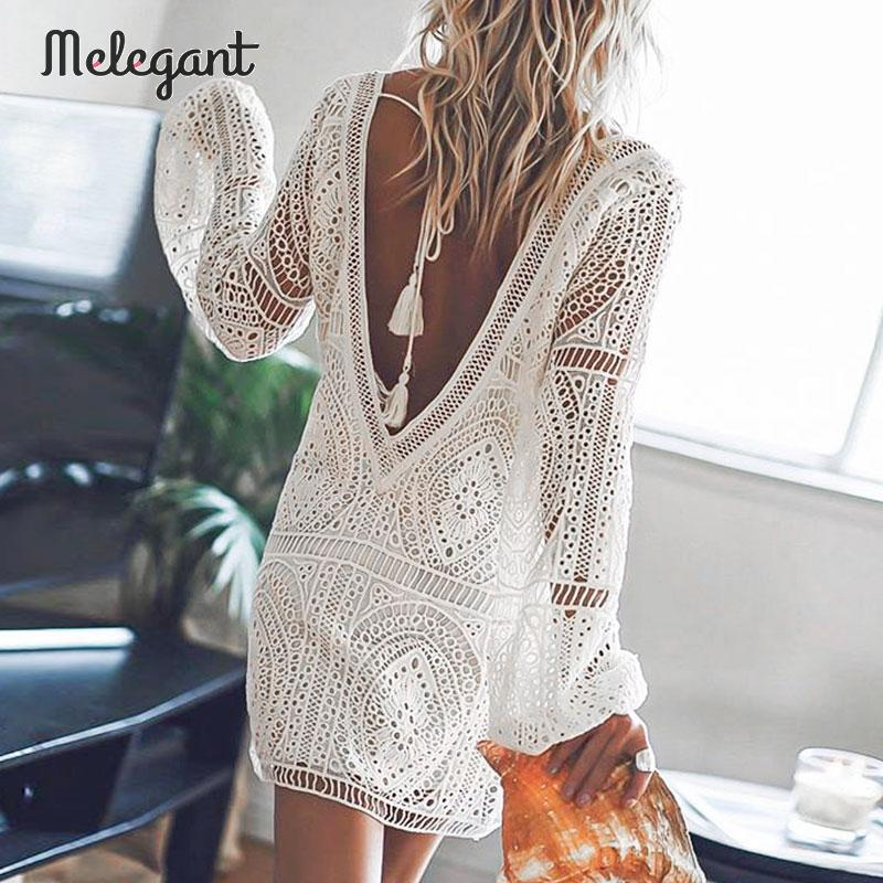 Melegant Backless Lace White Sexy Dress Women Winter Autumn 2019 Winter Dress Tassel Mini Short Femme Robe Dress Vestidos