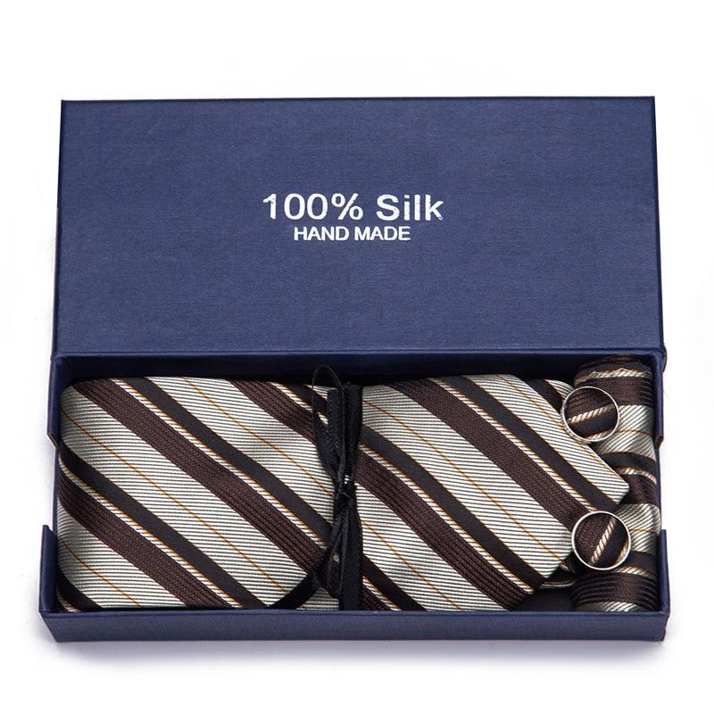 35 Style 7.5cm 100% Silk Handkerchief Cuffink Necktie Set Floral Prink Stripe Ties Cravat Formal Accessories Wedding Gift Box