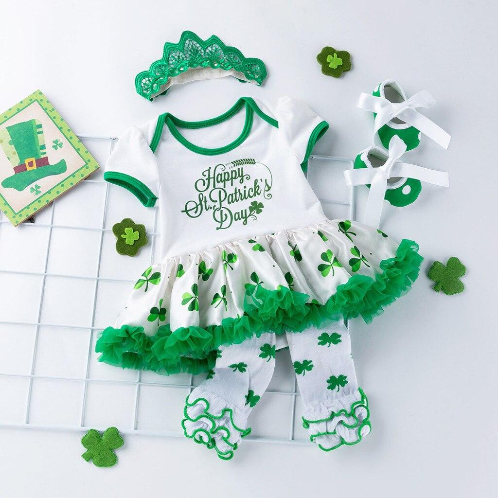 Newborn Baby Girls St Patrick/'s Day Dress Headband Shoes Leg Warmer 4 PCS Cloth