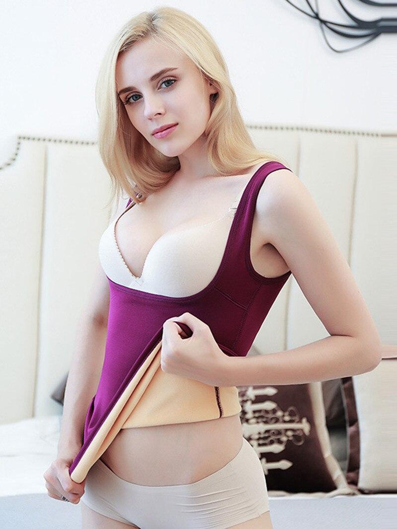 Low Cut Sexy U Neck Shape Warm   Tank     Top   Women Winter Thermal Thick Vest Plus Size 4XL Velvet Soft Undershirt Bustier   Top   Shirt