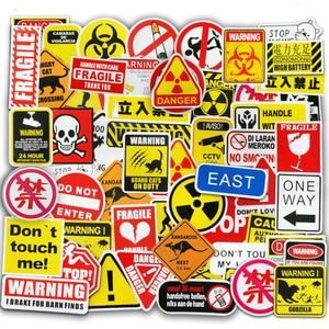 Image 4 - 50 Pcs Warning Signs Stickers for Laptop Motorcycle Luggage Bike Guitar Home Decor DIY Danger Banning Reminder Funny Sticker