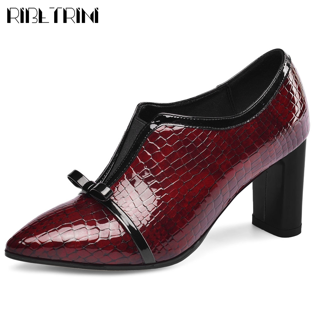 RIBETRINI New Office Ladies Pointed Toe Genuine Leather Shoes Woman Spring Fashion Fretwork Pumps Women 2020 High Heels Pumps