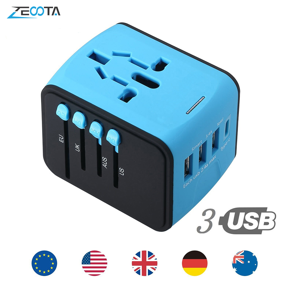 Travel AC Power Wall Charger Adapter Plug Converter Universal USB Ports 2.4A