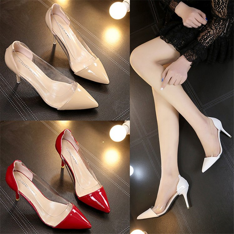 Women Fashion Pumps 2019 Summer New  Transparent High Heels Sexy Pointed Toe Slip-on  Party Shoes For Lady F125-1