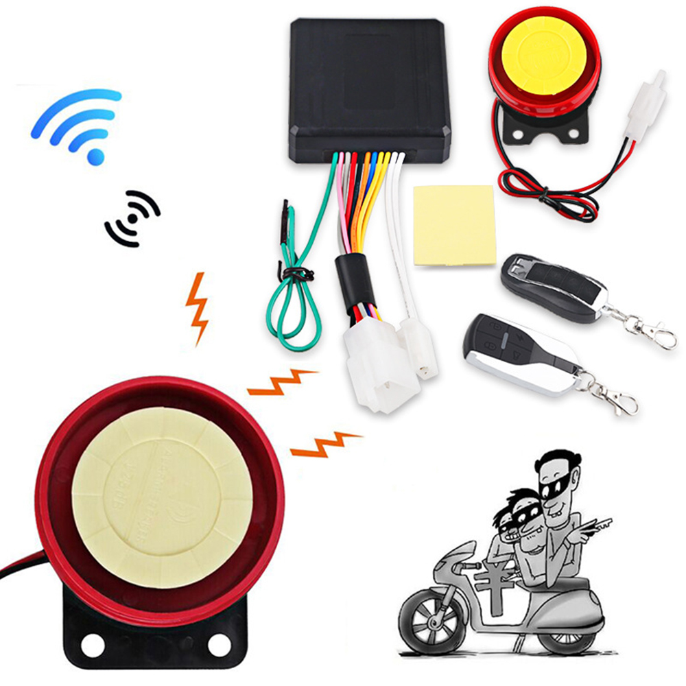 1Set 12V Motorcycle Anti-theft Security Alarm System 125db Alarm Speaker +2 Remote Control For Scooter Off-road
