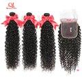 Кудрявые Волнистые Волосы Queenlife 3 Bndles с застежкой 5x5, кружевные волосы без повреждений, 100% бразильские человеческие волосы