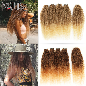 Nature Hair Extensions Afro Kinky Curly Hair Bundles 24 inch Ombre Blonde High Temperature Fiber Synthetic Hair Weave Bundles
