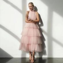 Pink A Line Prom Dresses Halter Sleeveless Cupcake Tiered Tulle Wedding/Evening Party Dress for Graduation Vestidos De Fiesta